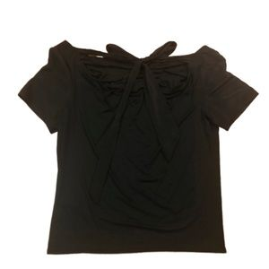 Three Dots Black Open Bow Back Flowy Top Small